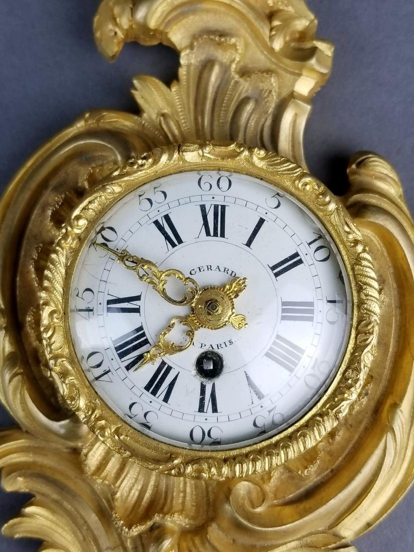 Small Fine French Gilt Bronze Cartel Clock - 2