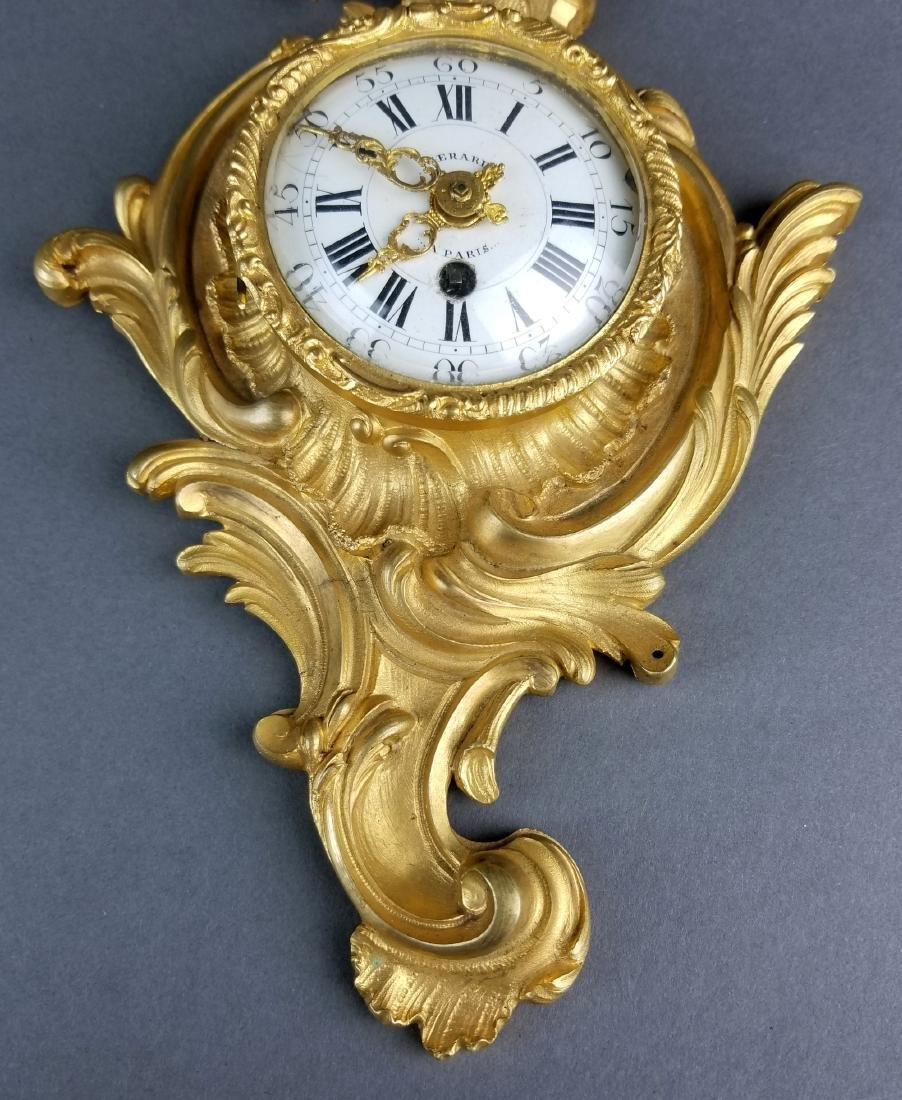 Small Fine French Gilt Bronze Cartel Clock - 3