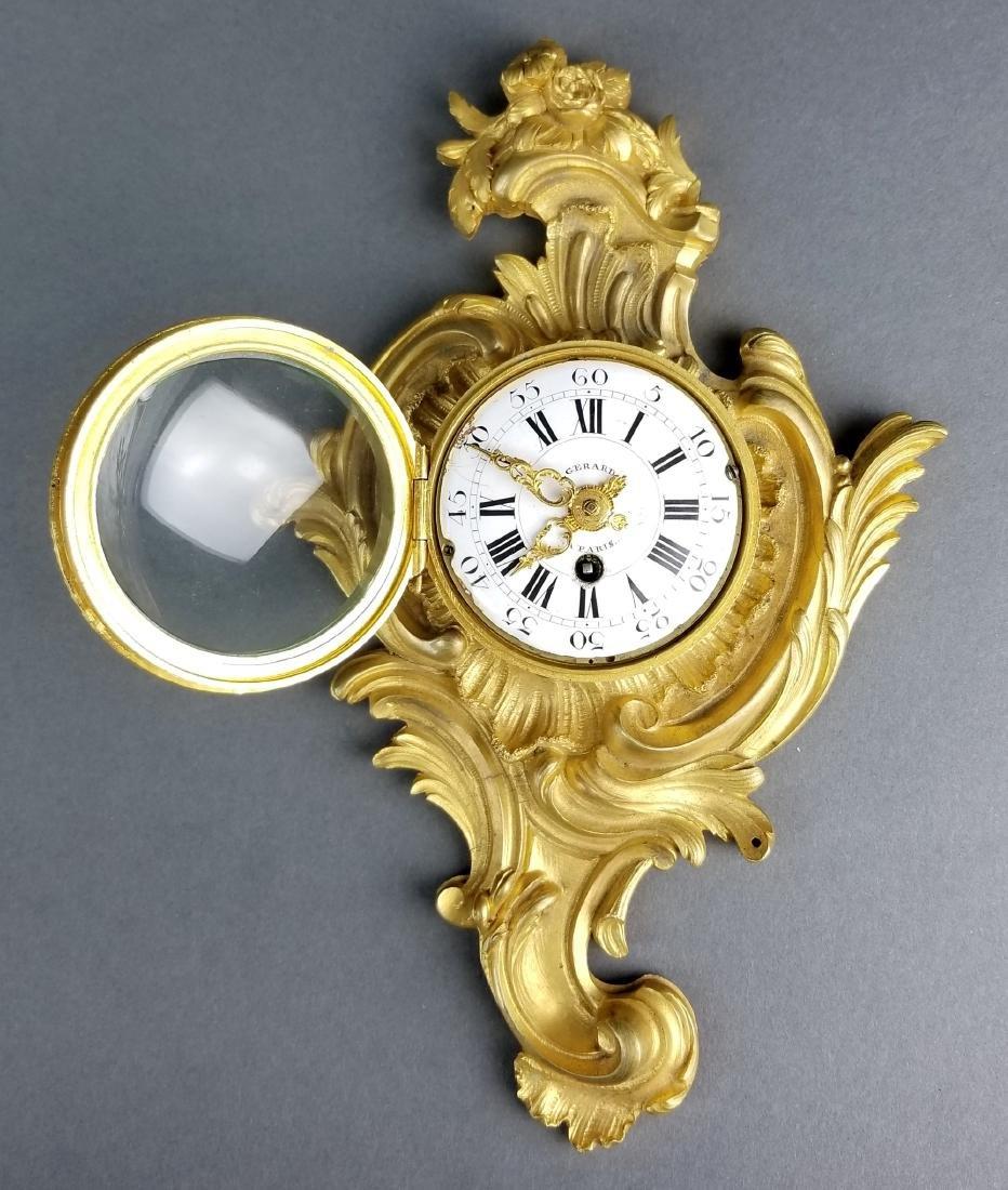 Small Fine French Gilt Bronze Cartel Clock - 4