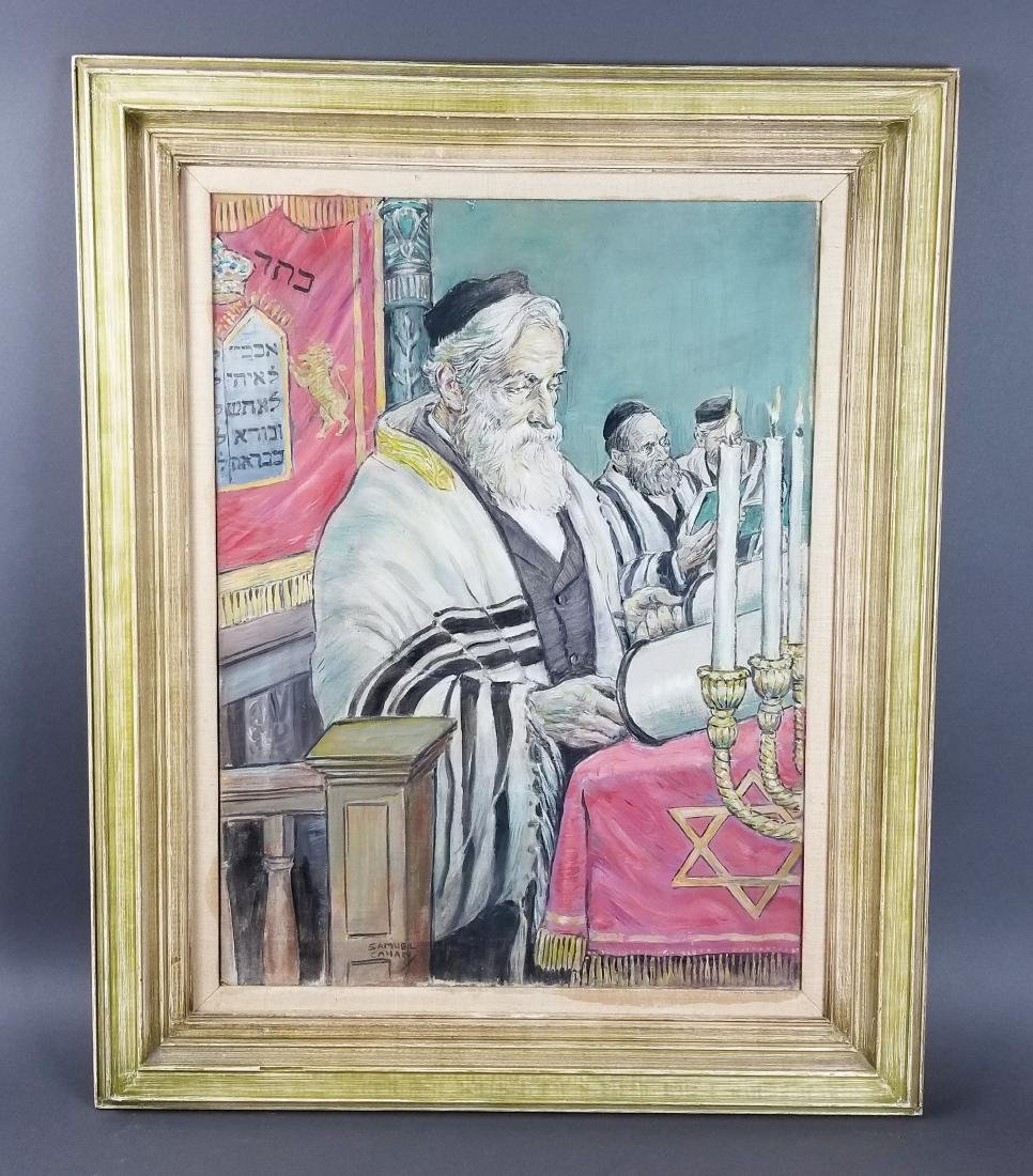 "Framed Oil on Canvas ""Rabbi in Synagogue Reading the"