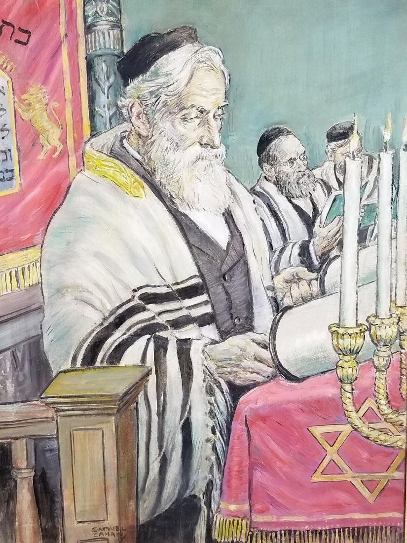 "Framed Oil on Canvas ""Rabbi in Synagogue Reading the - 2"