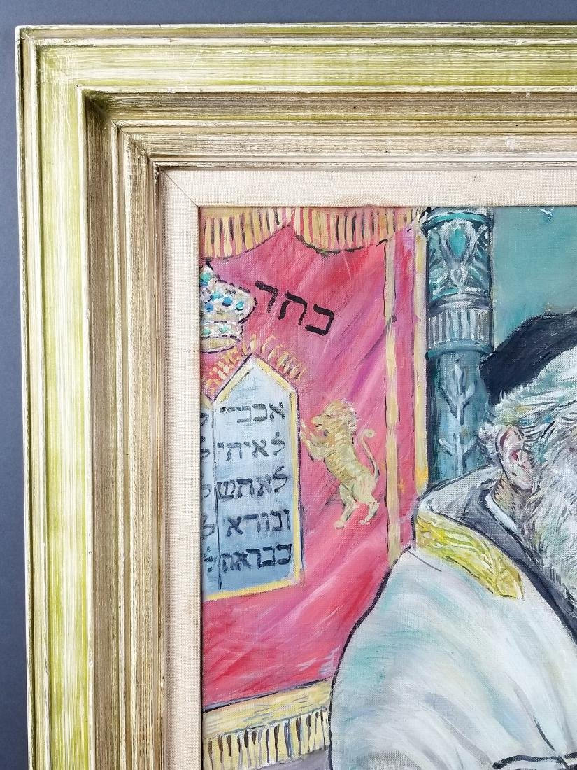 "Framed Oil on Canvas ""Rabbi in Synagogue Reading the - 3"