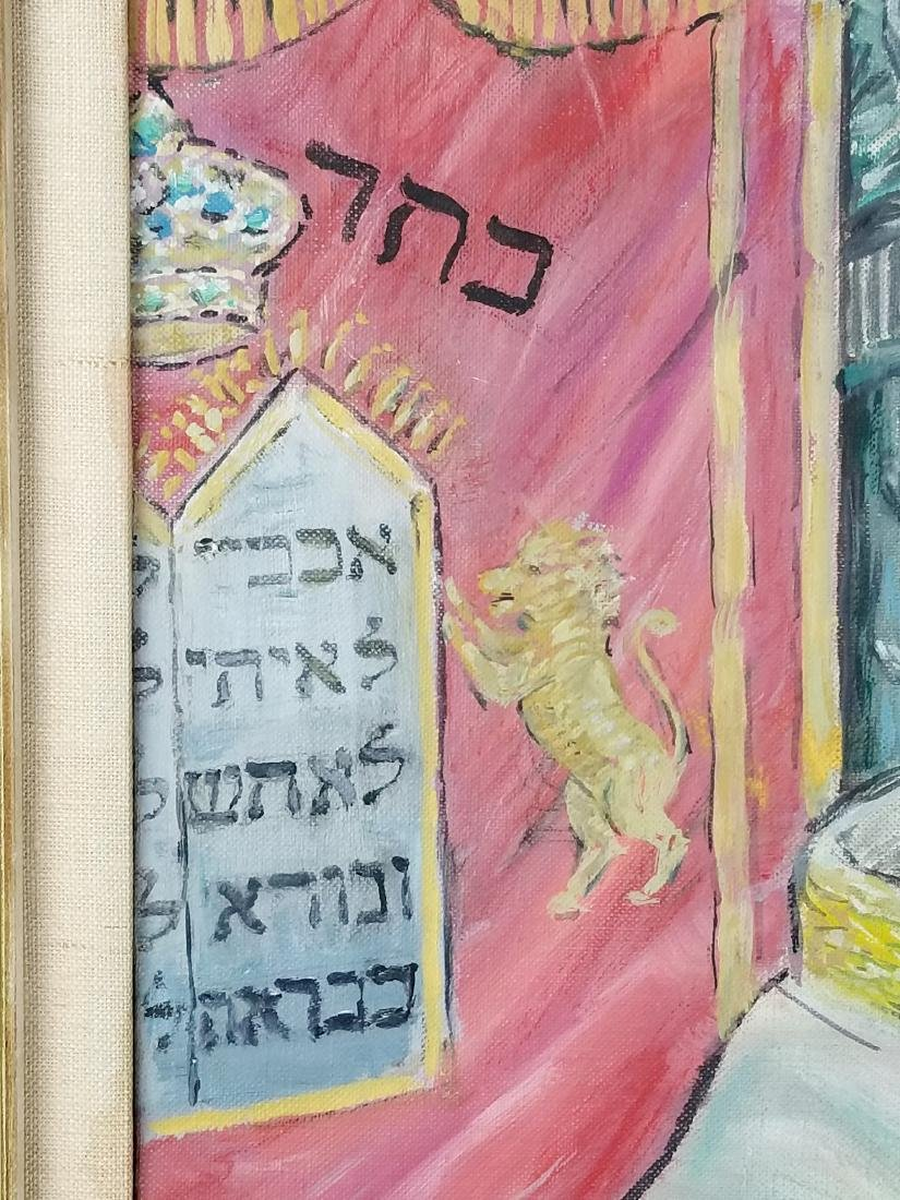 "Framed Oil on Canvas ""Rabbi in Synagogue Reading the - 4"