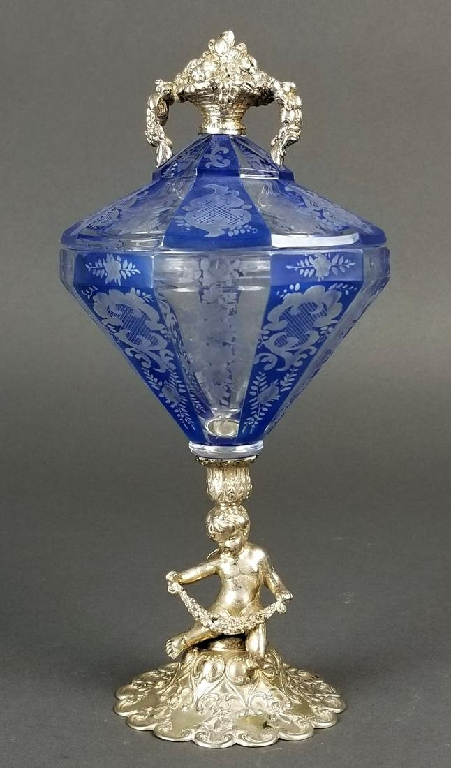 800 Figural Silver and Moser Candy Dish