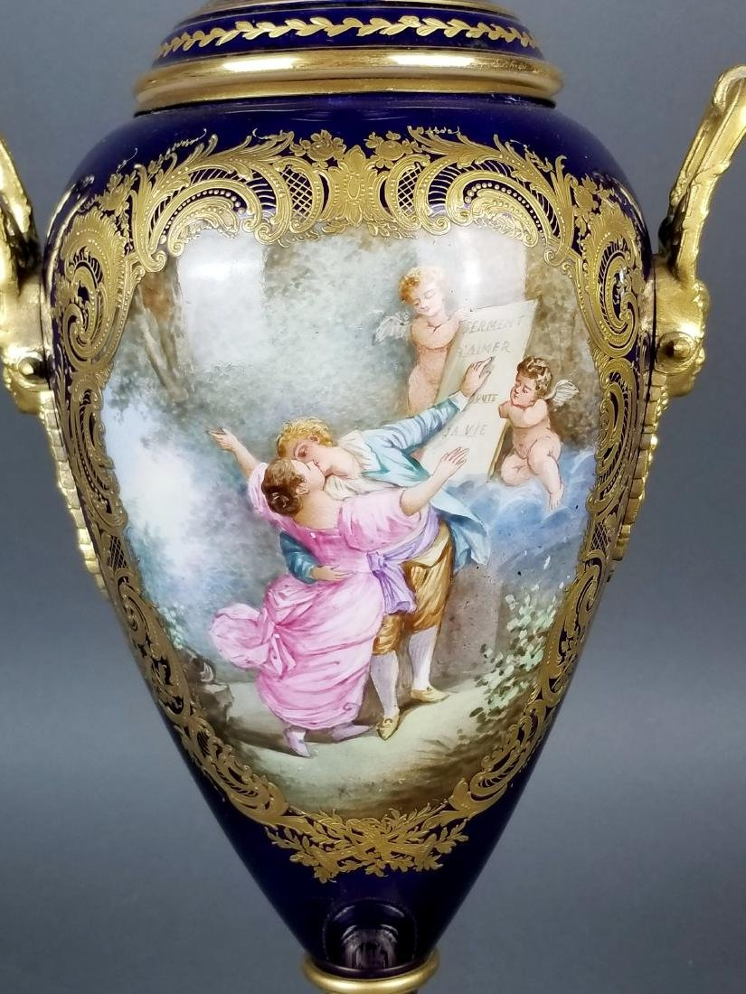Pair of 19th C. Sevres Bronze and Porcelain Vases - 3
