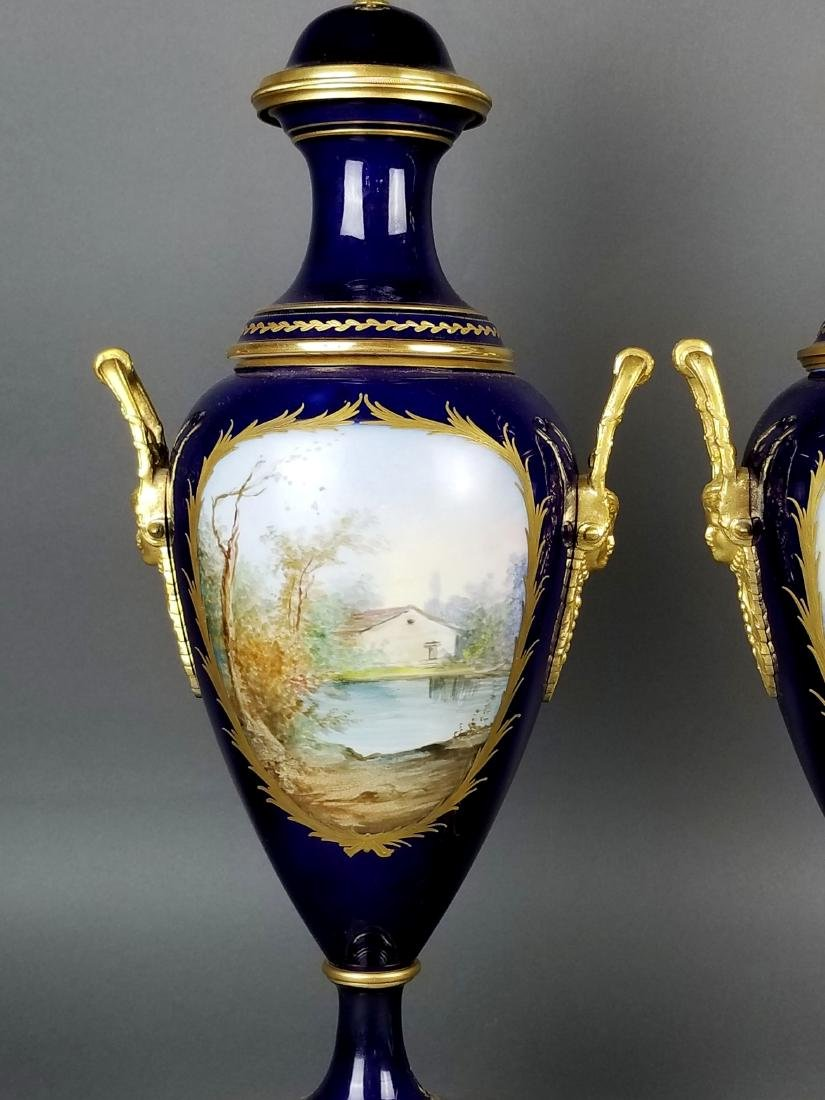 Pair of 19th C. Sevres Bronze and Porcelain Vases - 8