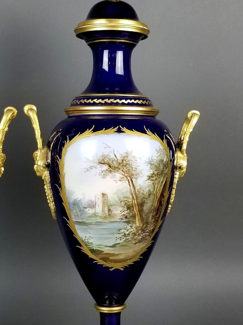 Pair of 19th C. Sevres Bronze and Porcelain Vases - 9