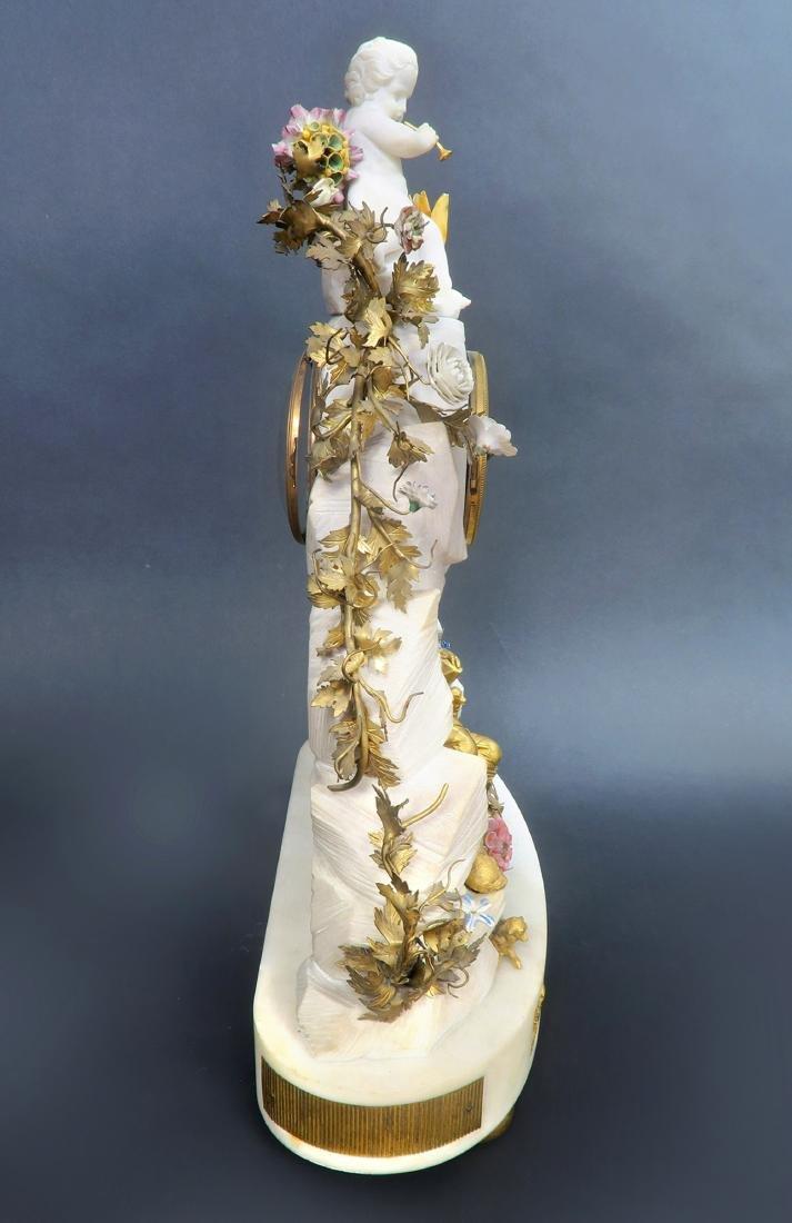 Large 19th C Marble Figural Enamel  Gilt Bronze Mantel - 3