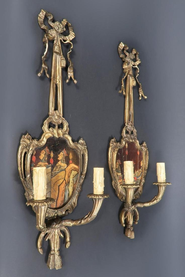 Pair of French Bronze Chinoiserie Wall Sconces