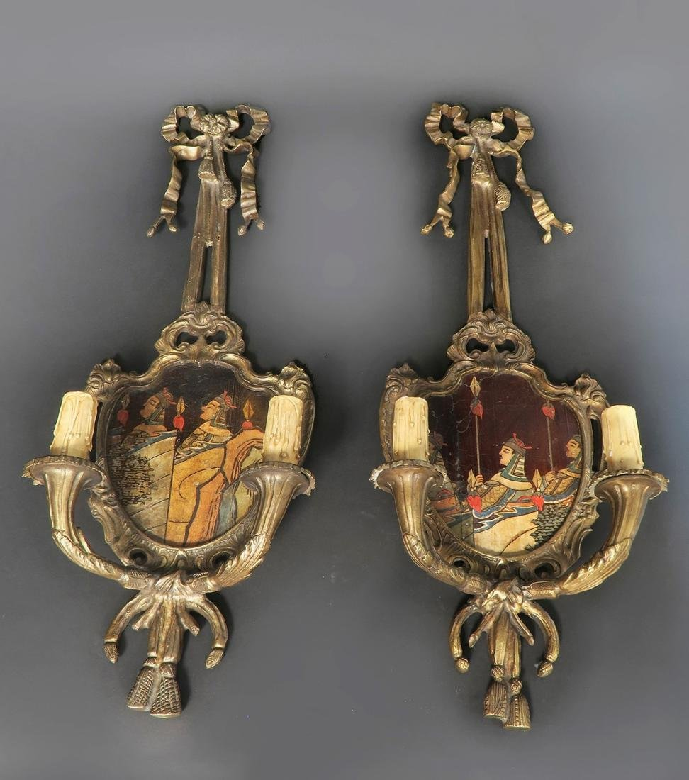 Pair of French Bronze Chinoiserie Wall Sconces - 2