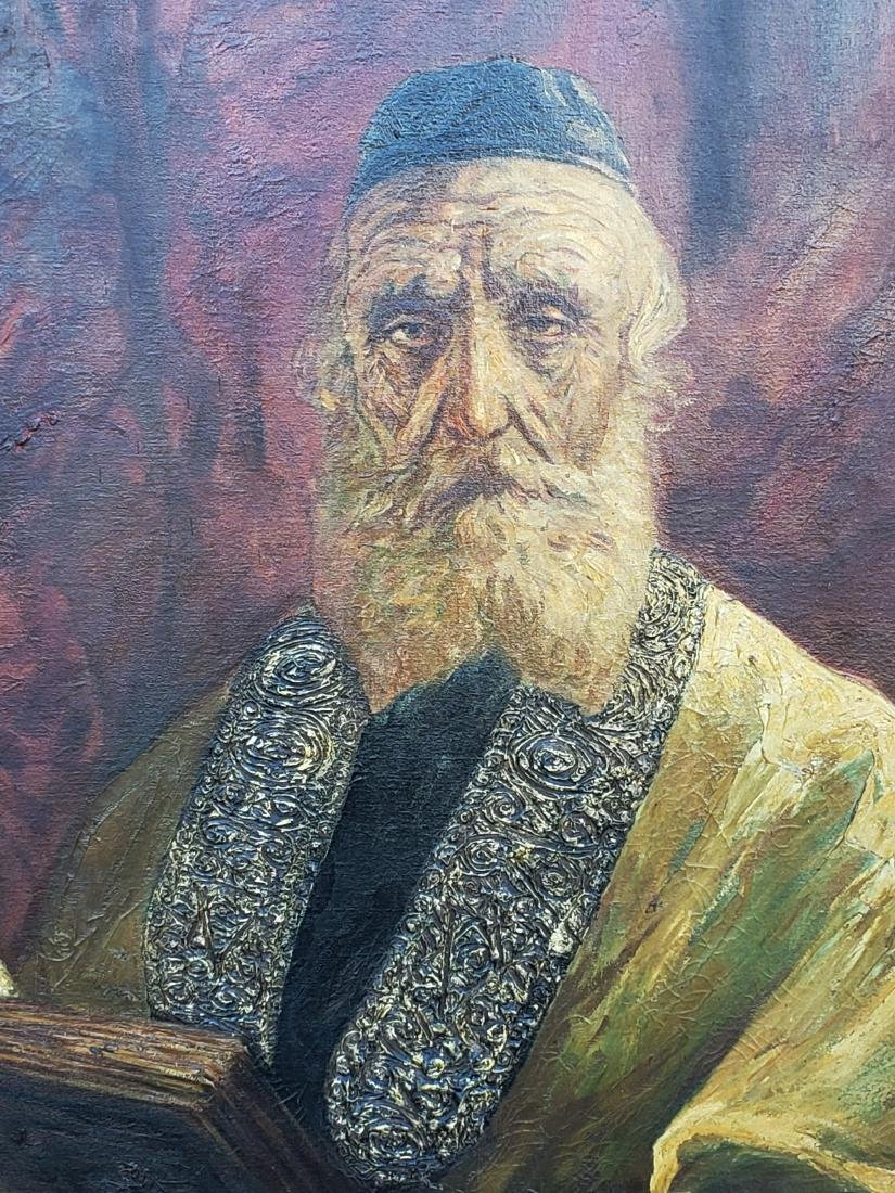 Monumental Oil on Canvas of a Rabbi Signed - 2