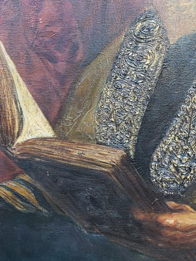 Monumental Oil on Canvas of a Rabbi Signed - 3