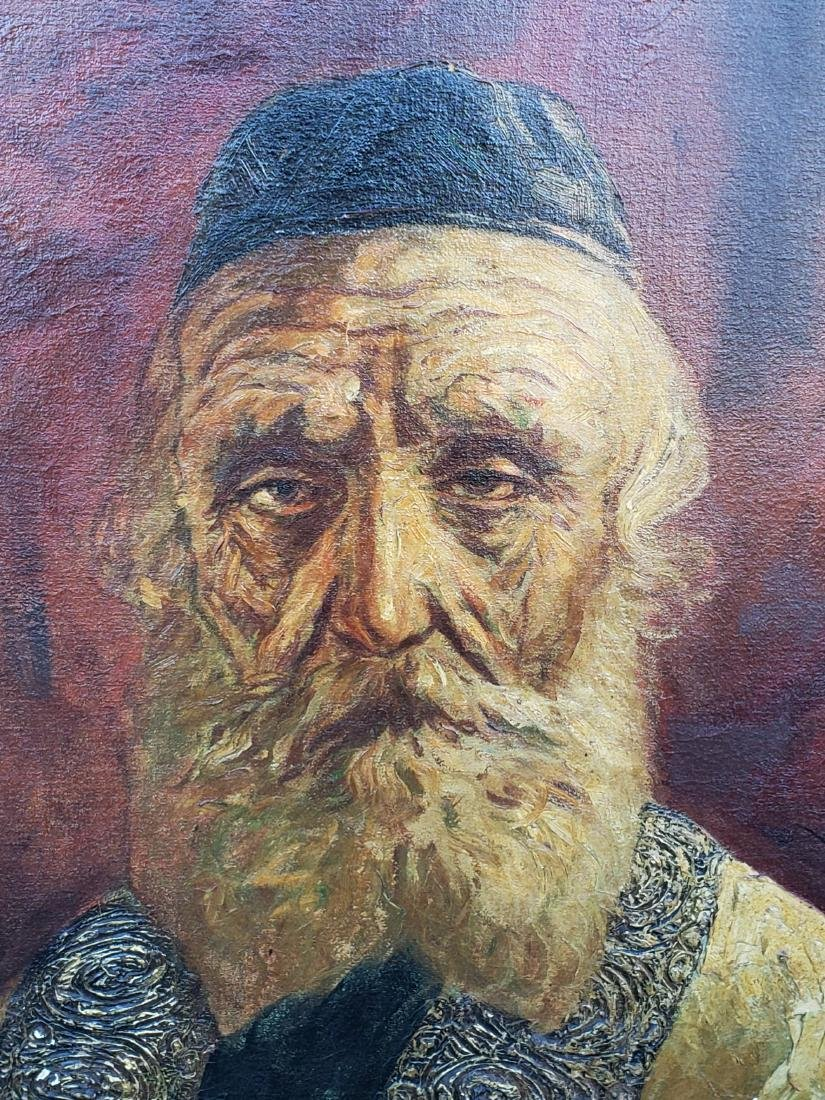 Monumental Oil on Canvas of a Rabbi Signed - 4