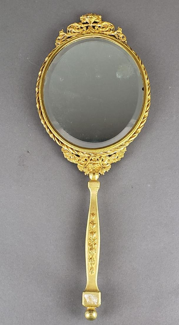 Large French Enamel & Bronze Hand Mirror - 4