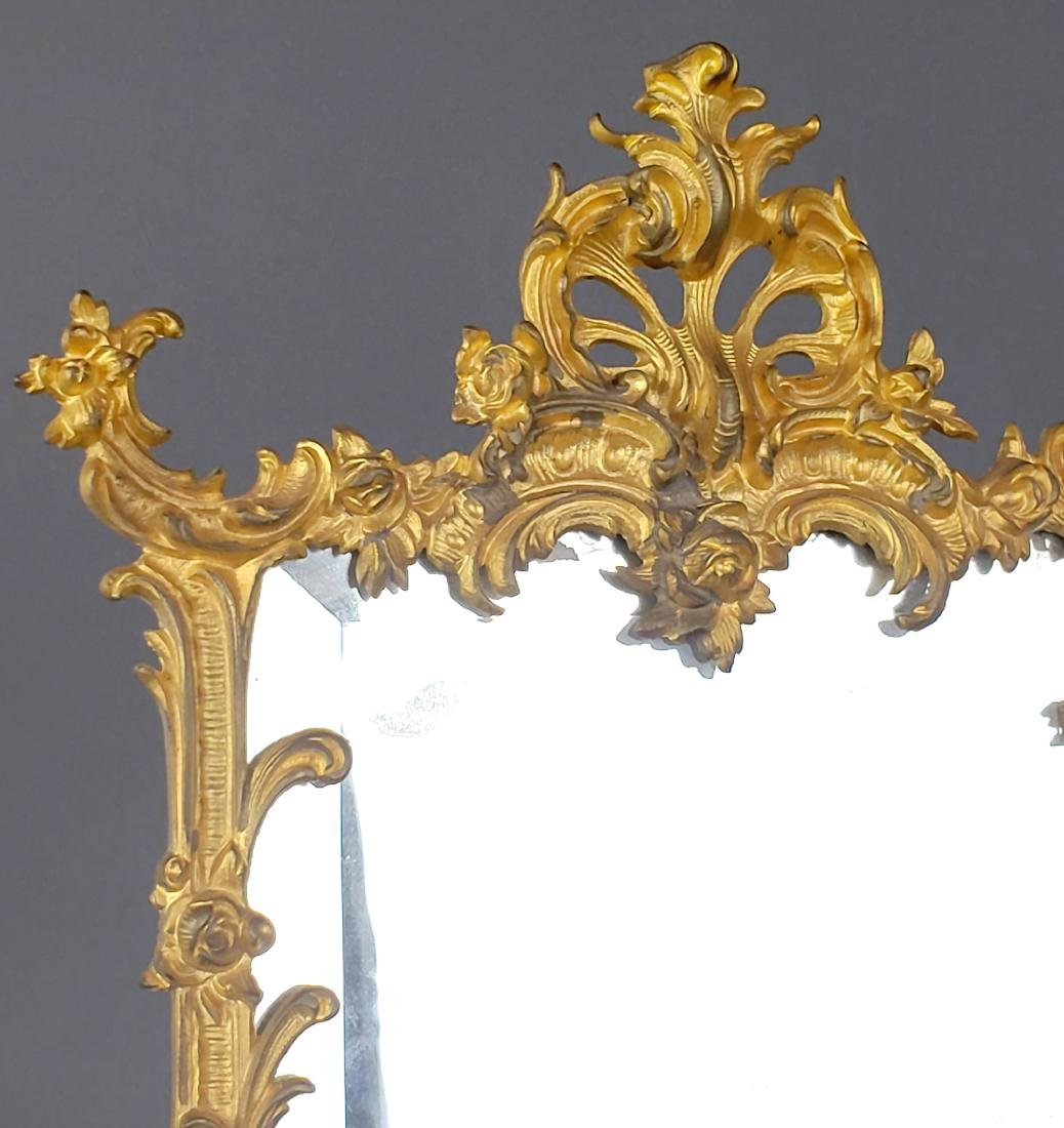 19th C. French Gilt Bronze Mirror - 2