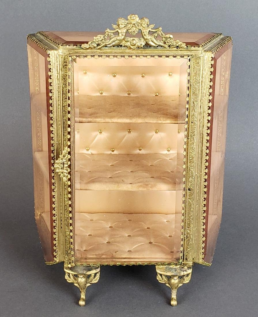 19th C. French Bronze and Glass Jewelry Box