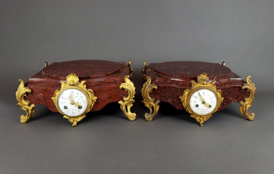 Pair of 19th C. Bronze & Rouge Marble Clock Pedestals