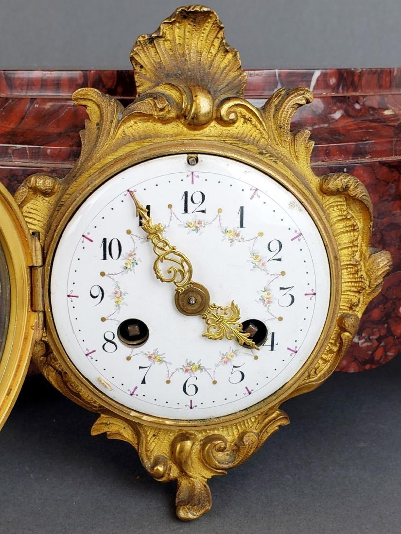 Pair of 19th C. Bronze & Rouge Marble Clock Pedestals - 4