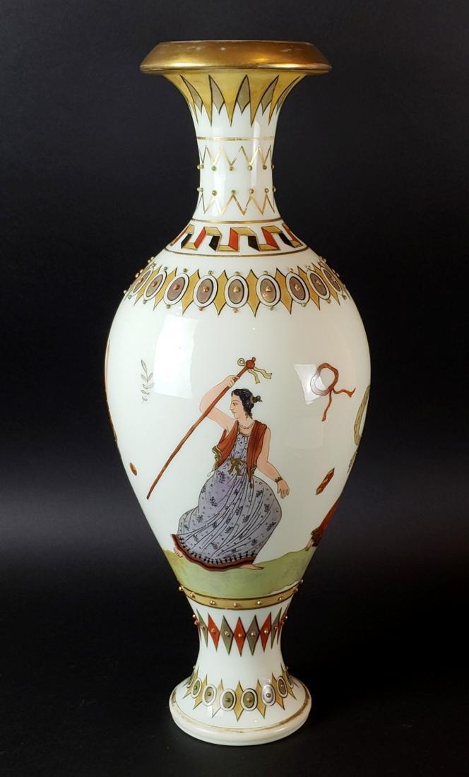 Large Opaline Glass Jewelled Vase