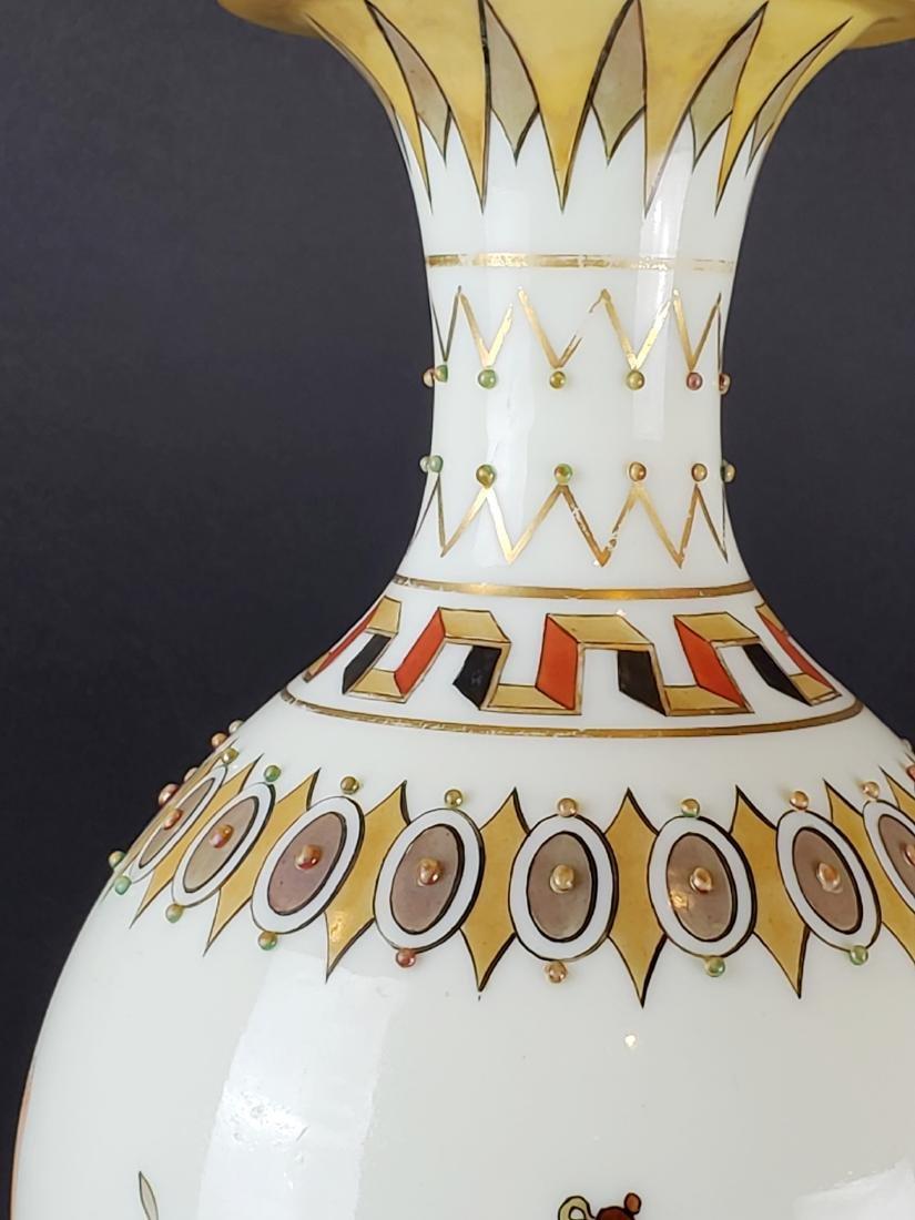 Large Opaline Glass Jewelled Vase - 3