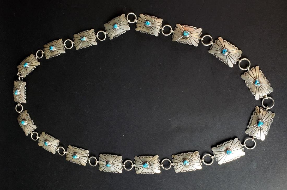 American Indian Silver & Turquoise Belt
