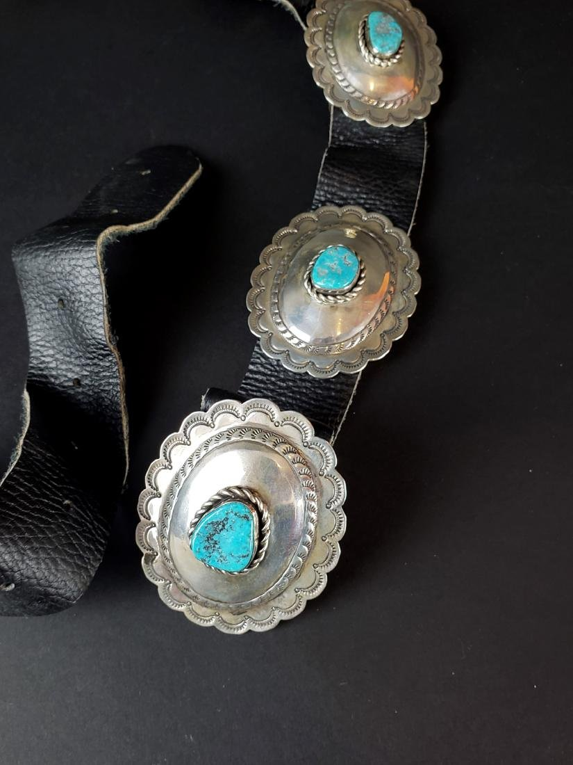 American Indian Silver & Turquoise Leather Belt - 2