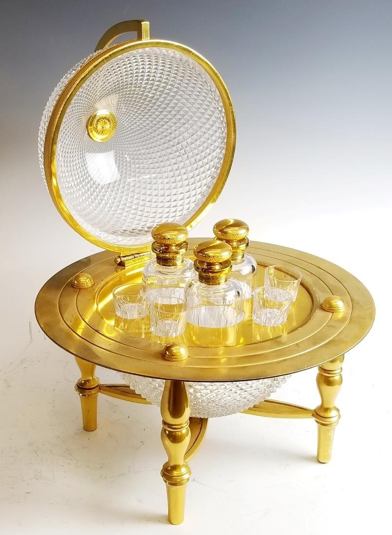 19th C. Bronze and Cut Glass Tantalus Set