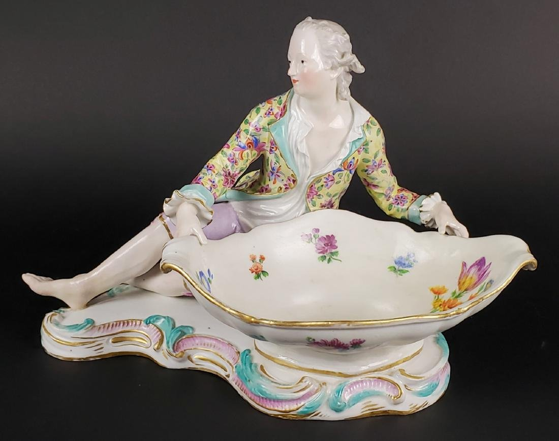 19th C. Meissen Large Figural Porcelain Sweet Meat Dish