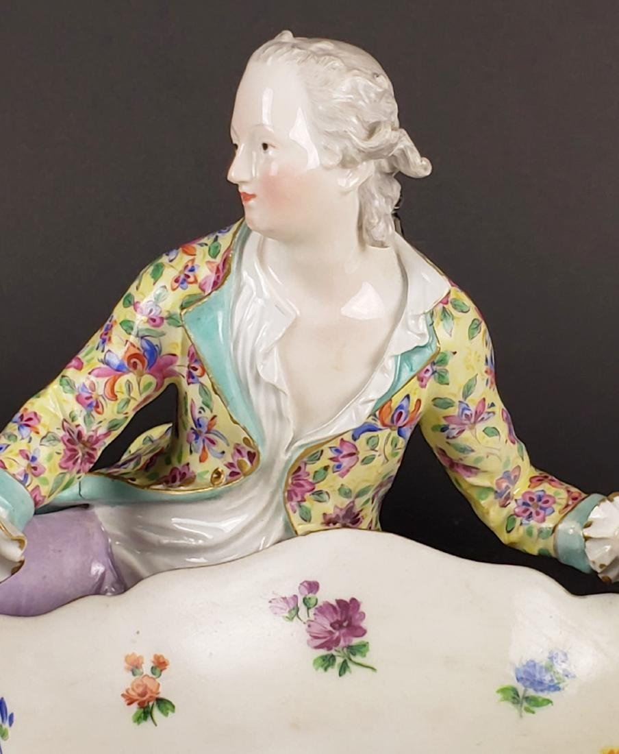 19th C. Meissen Large Figural Porcelain Sweet Meat Dish - 2