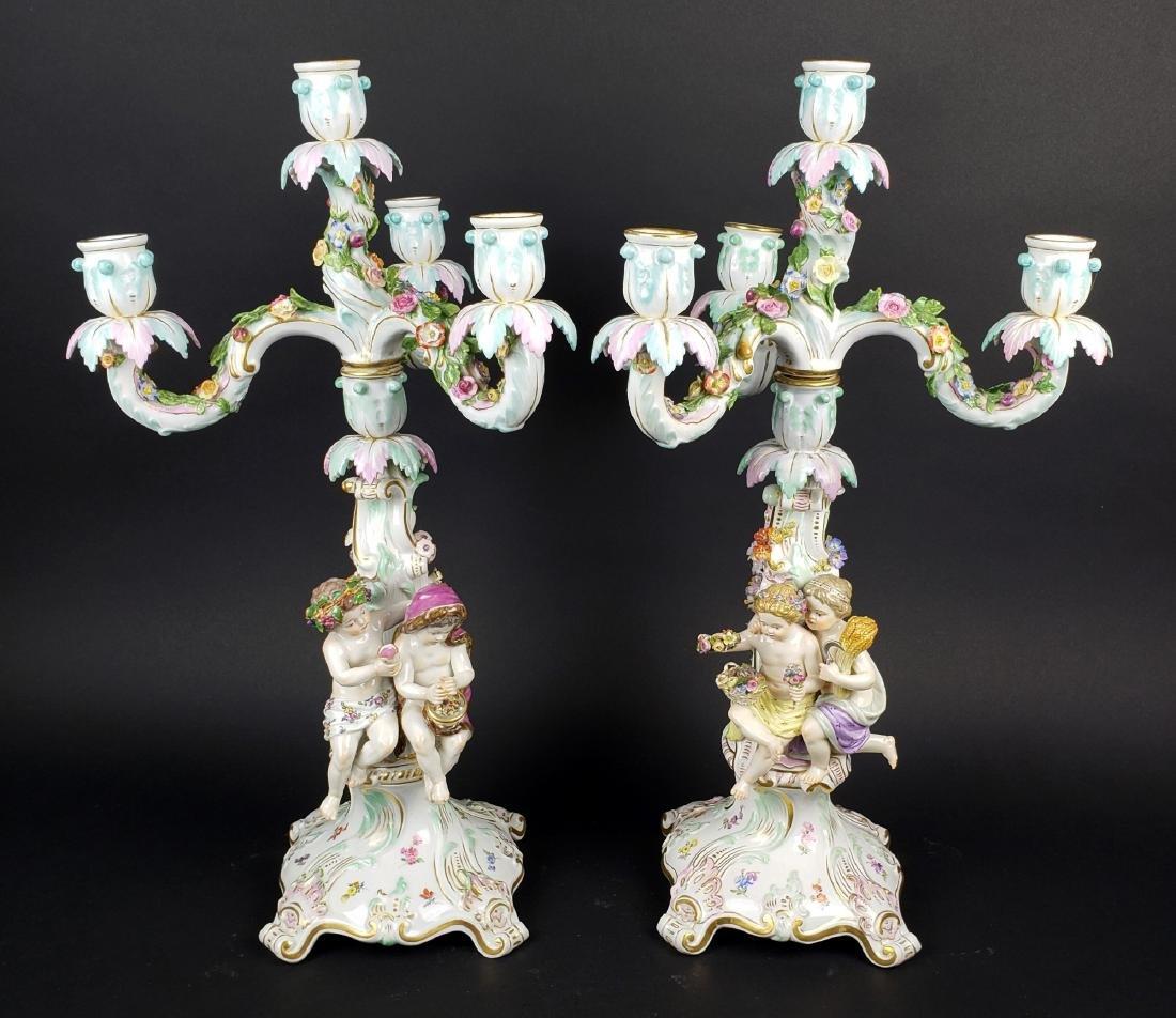 Pair of Large 19th C. Meissen Figural Porcelain