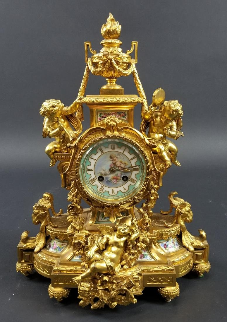 Late 19th C. 3 Pc. Gilt Bronze Mounted Sevres Porcelain - 2