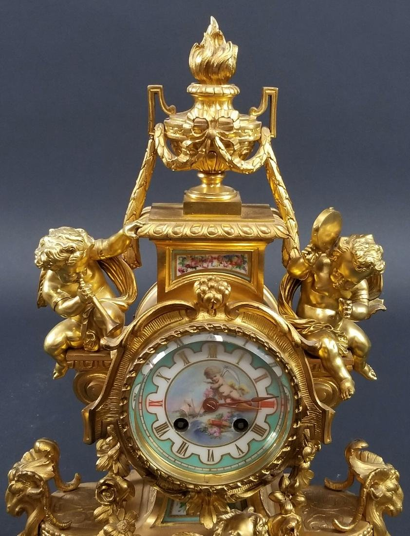 Late 19th C. 3 Pc. Gilt Bronze Mounted Sevres Porcelain - 3