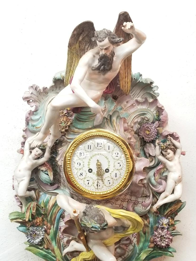 German Polychrome Decorated Porcelain Wall Clock, Circa - 2