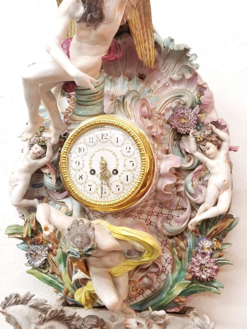 German Polychrome Decorated Porcelain Wall Clock, Circa - 3
