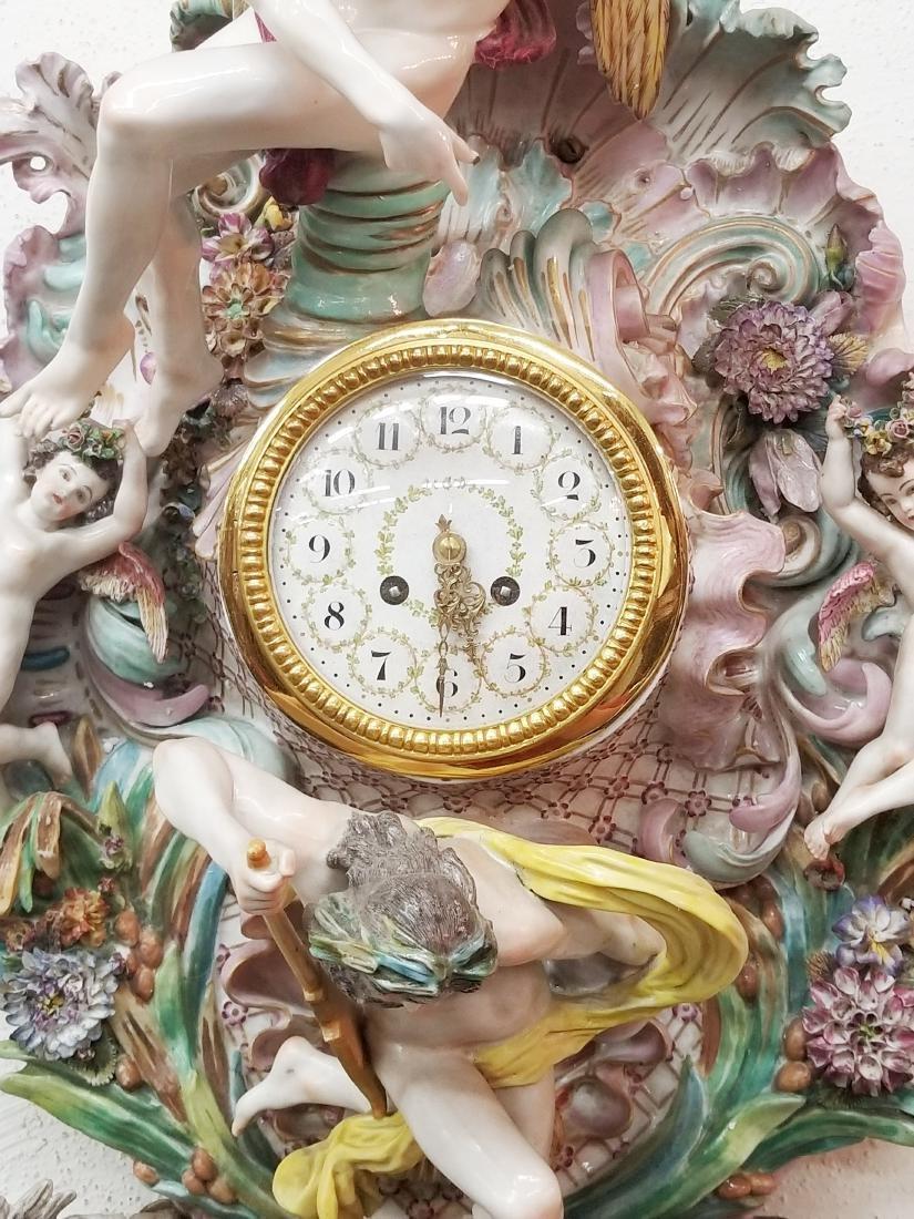 German Polychrome Decorated Porcelain Wall Clock, Circa - 5