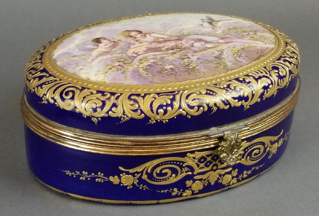 19th C. French Sevres Hand Painted Box
