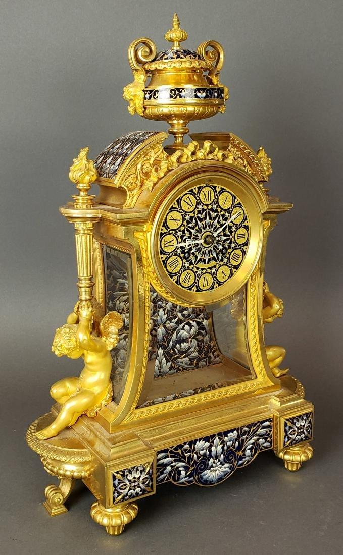 Exquisite French Champleve Enamel & Bronze Clockset, - 2