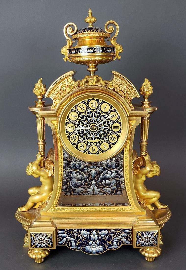 Exquisite French Champleve Enamel & Bronze Clockset, - 3