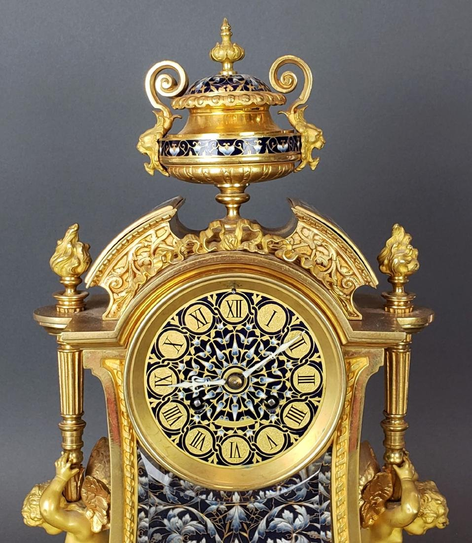 Exquisite French Champleve Enamel & Bronze Clockset, - 4