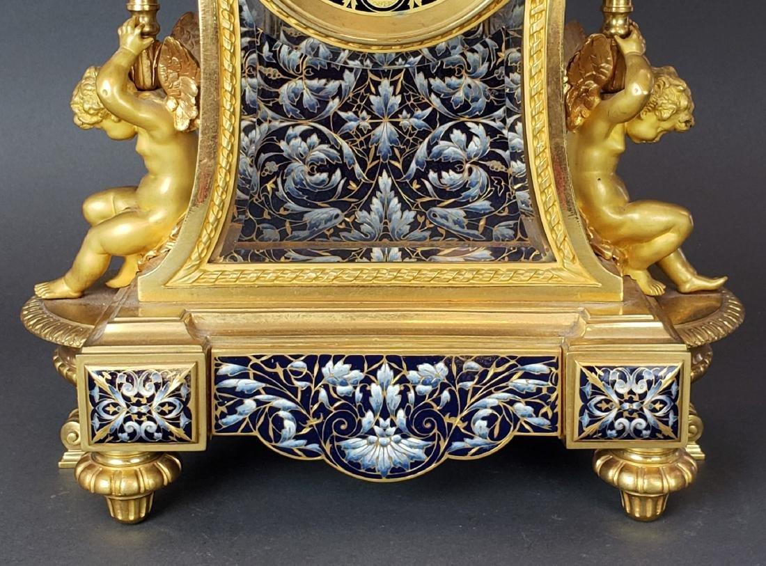 Exquisite French Champleve Enamel & Bronze Clockset, - 5