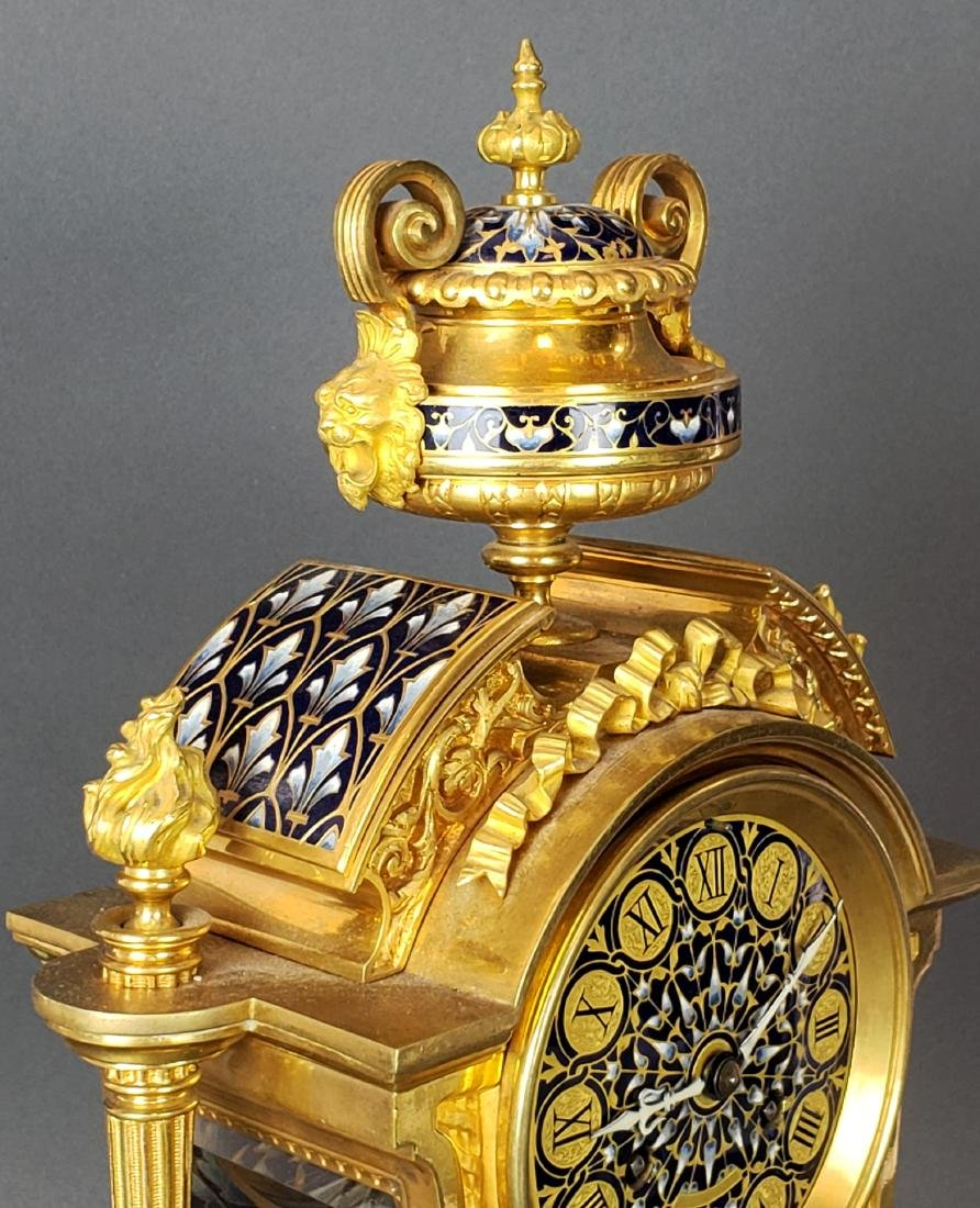 Exquisite French Champleve Enamel & Bronze Clockset, - 6