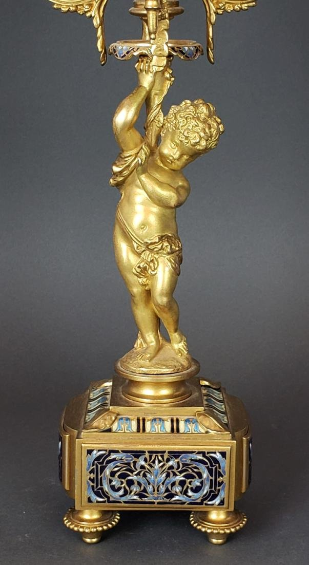 Exquisite French Champleve Enamel & Bronze Clockset, - 9