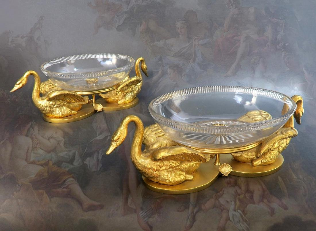 A Pair of Elkington Cut-Glass and Gilt Bronze Swan