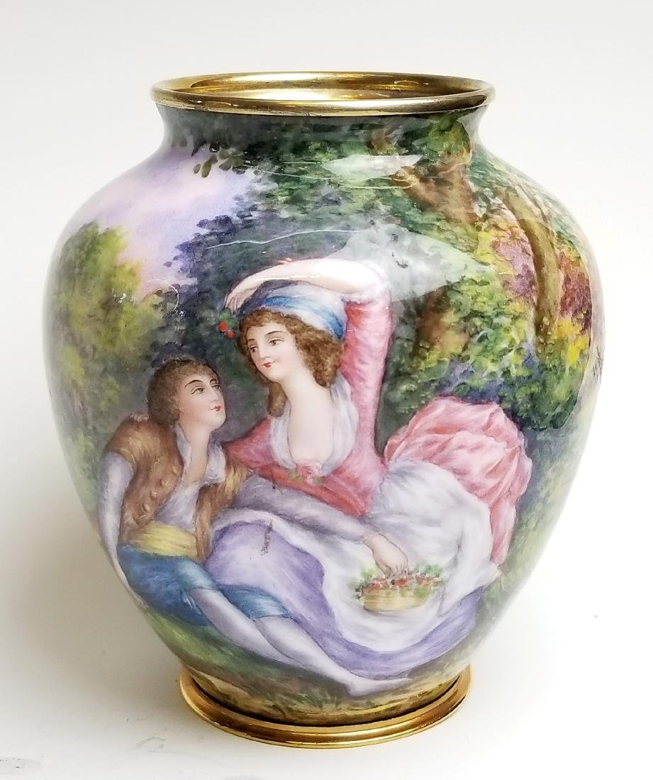 19th C. Viennese Enamel Vase with Gold over Silver