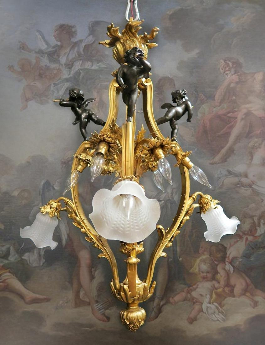 19th C. French Figural Gilt Bronze Chandelier 9-Light