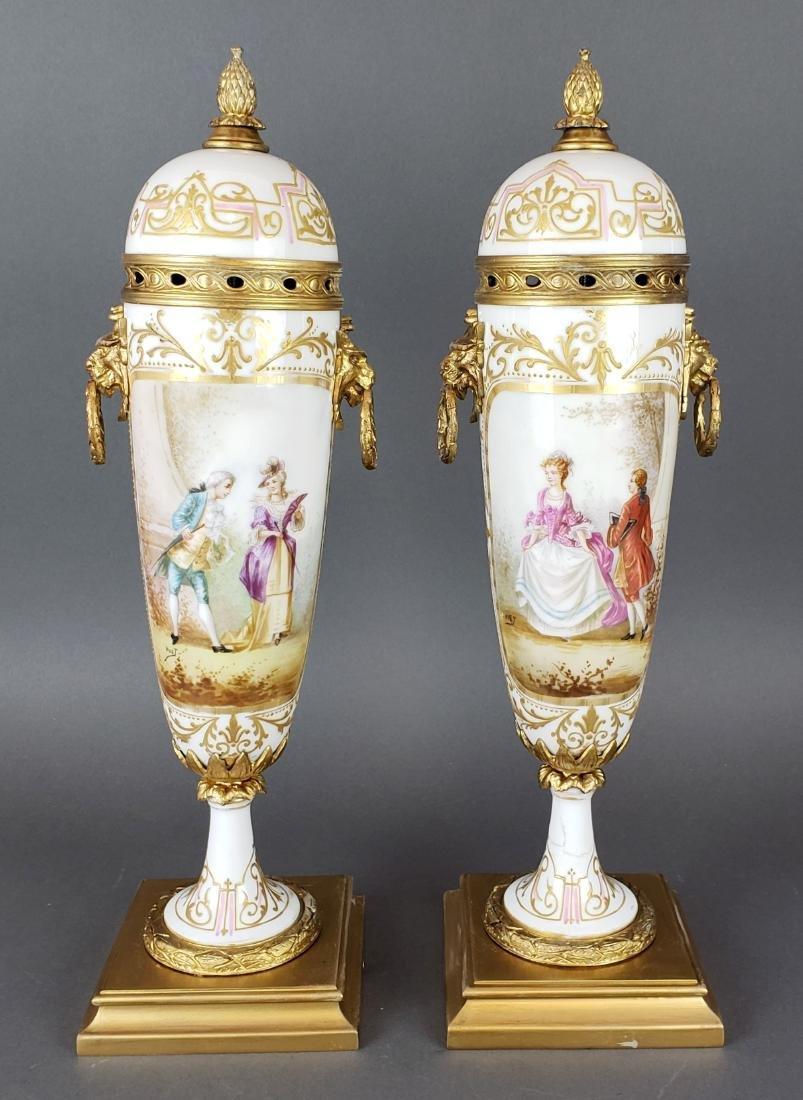 Pair of French Sevres Porcelain & Bronze Vases