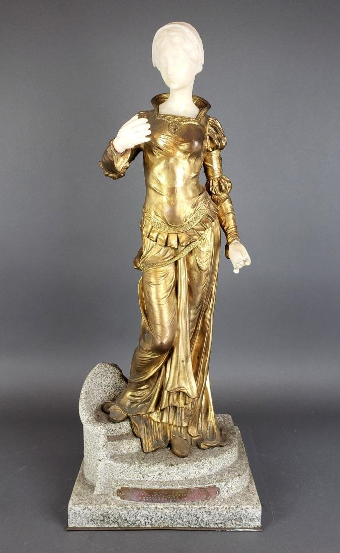 Large Argentinian Bronze and Marble Figure Signed