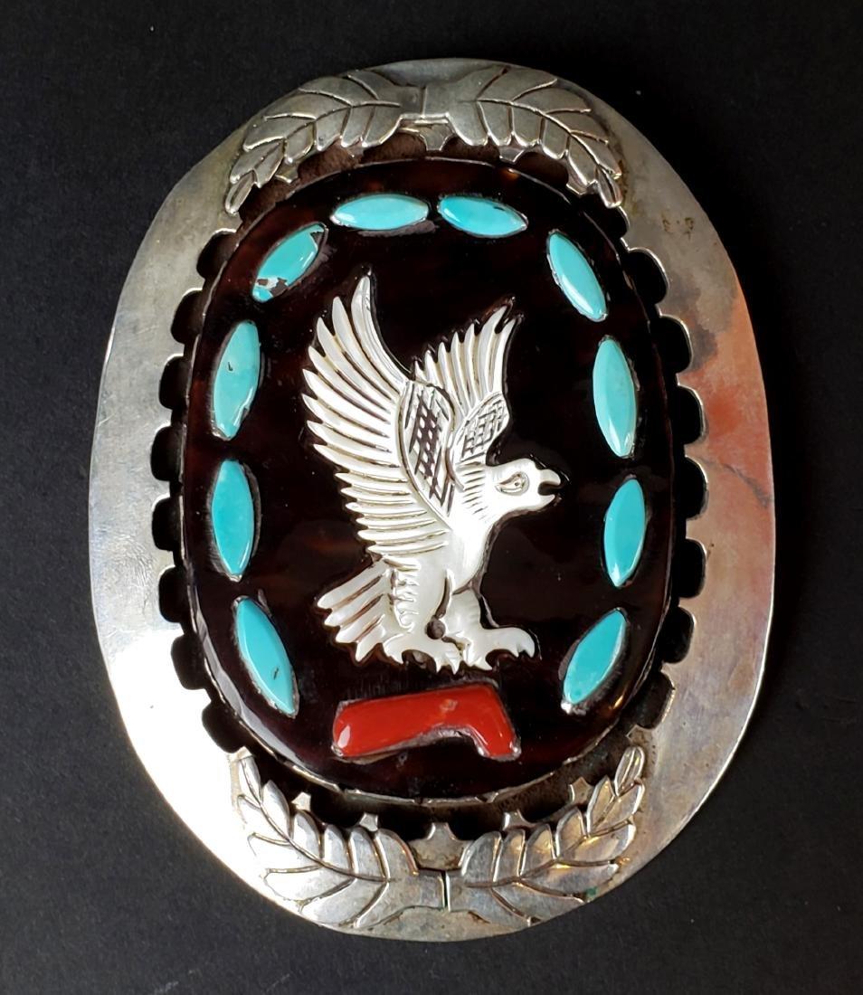 J. Quan American Indian Silver & Turquoise Enamel Broch