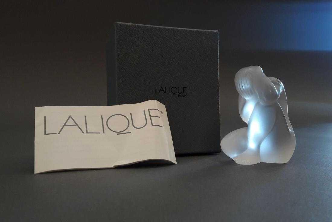 LALIQUE Nu Main Sur Tete Statuette, Signed, Box, COA