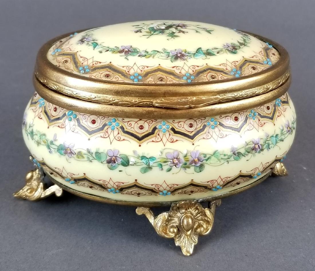 19th C. French Jewelled Enamel Jewelry Box